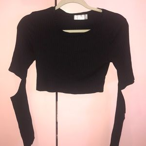 LF Black Crop Top With Elbow Cut-Out